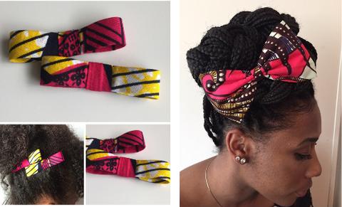 Des accessoires tels que les pinces à cheveux sont personnalisés aux  couleurs wax.
